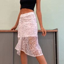 D&M Ruched Floral Lace Overlay Skirt
