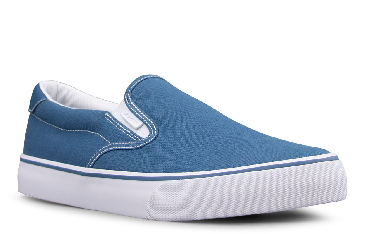 Men's Clipper Slip-On Sneaker (Choose Your Color: BLUE/WHITE, Choose Your Size: 14.0)