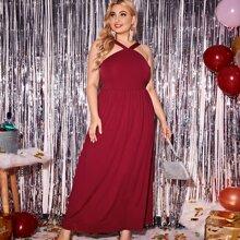 Einfarbiges Cami Kleid mit Reissverschluss hinten