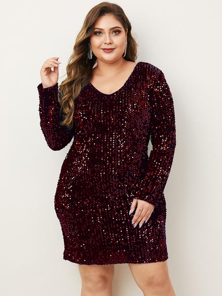 Yoins Plus Size Sequins Embellished V-neck Long Sleeves Dress