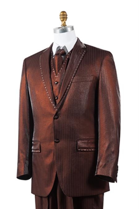 2 Button Tuxedo Trimmed Pleated Pants Vested 3 Piece Mens Suits Brown