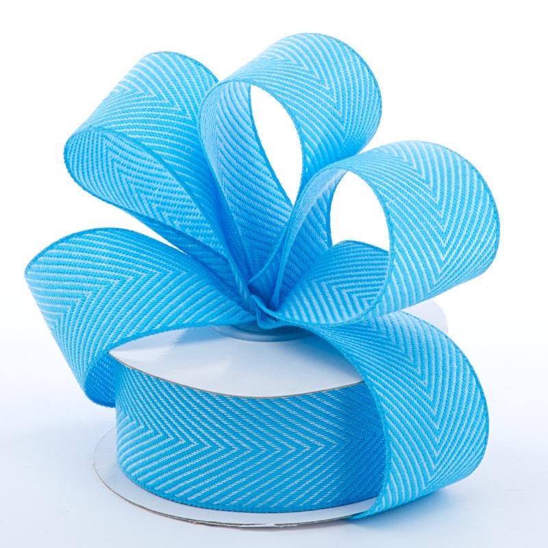 Jute 1-1/2 X 10 Yards Sky Blue Herringbone Ntrl Ribbon by Ribbons.com
