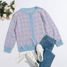 Button Front Gingham Cardigan