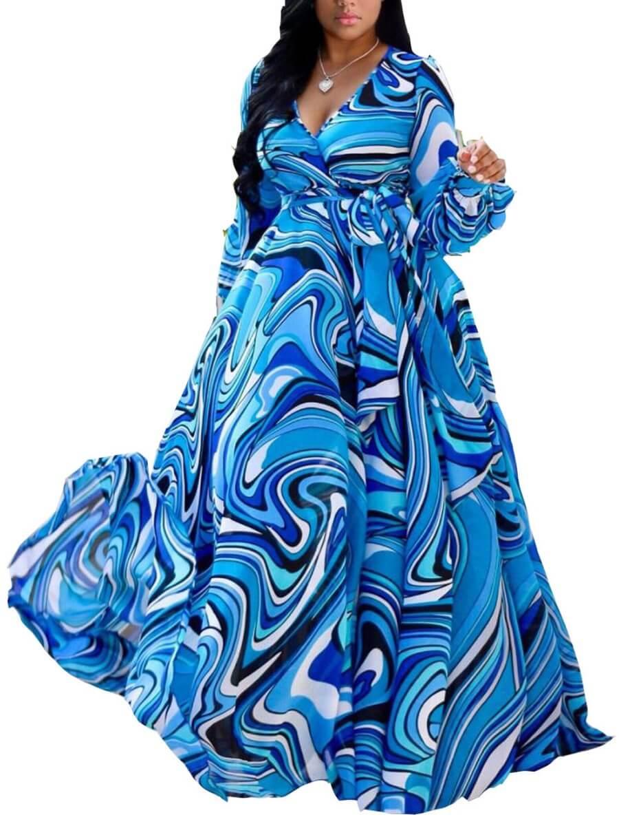 LW Lovely Trendy V Neck Striped Print Blue Maxi Plus Size Dress