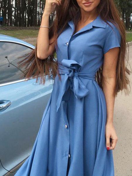 Milanoo Vestido vintage de poliester de cuello vuelto con manga corta Color liso con cordones estilo moderno
