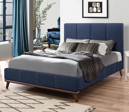 Charity Collection 300626KE King Size Bed with Fabric Upholstery  Low Profile Footboard  Tapered Legs and Sturdy Wood Frame Construction in