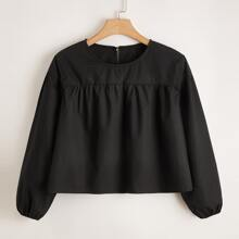 Plus Keyhole Back Solid Smock Blouse
