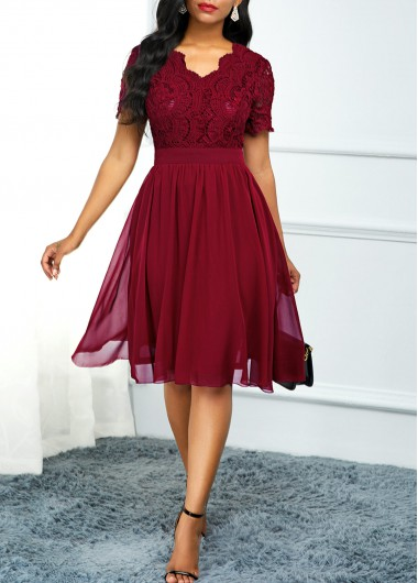Women'S Wine Red Lace Short Sleeve A Line Cocktail Party Dress Solid Color V Neck Burgundy High Waisted Knee Length Dress By Rosewe - XL