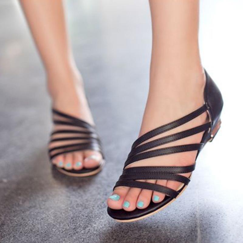 Ericdress Simple Open Toe Flat Sandals