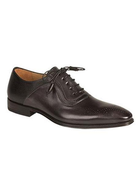 Mens Graphite Medallion Toe Contrast Deerskin Lace Up Leather Shoes