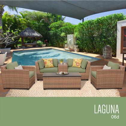 LAGUNA-06d-CILANTRO Laguna 6 Piece Outdoor Wicker Patio Furniture Set 06d with 2 Covers: Wheat and