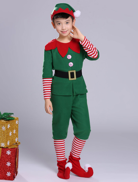 Milanoo Christmas Elf Costume Kids Top Pants Green Outfit 5 Piece For Boys Halloween