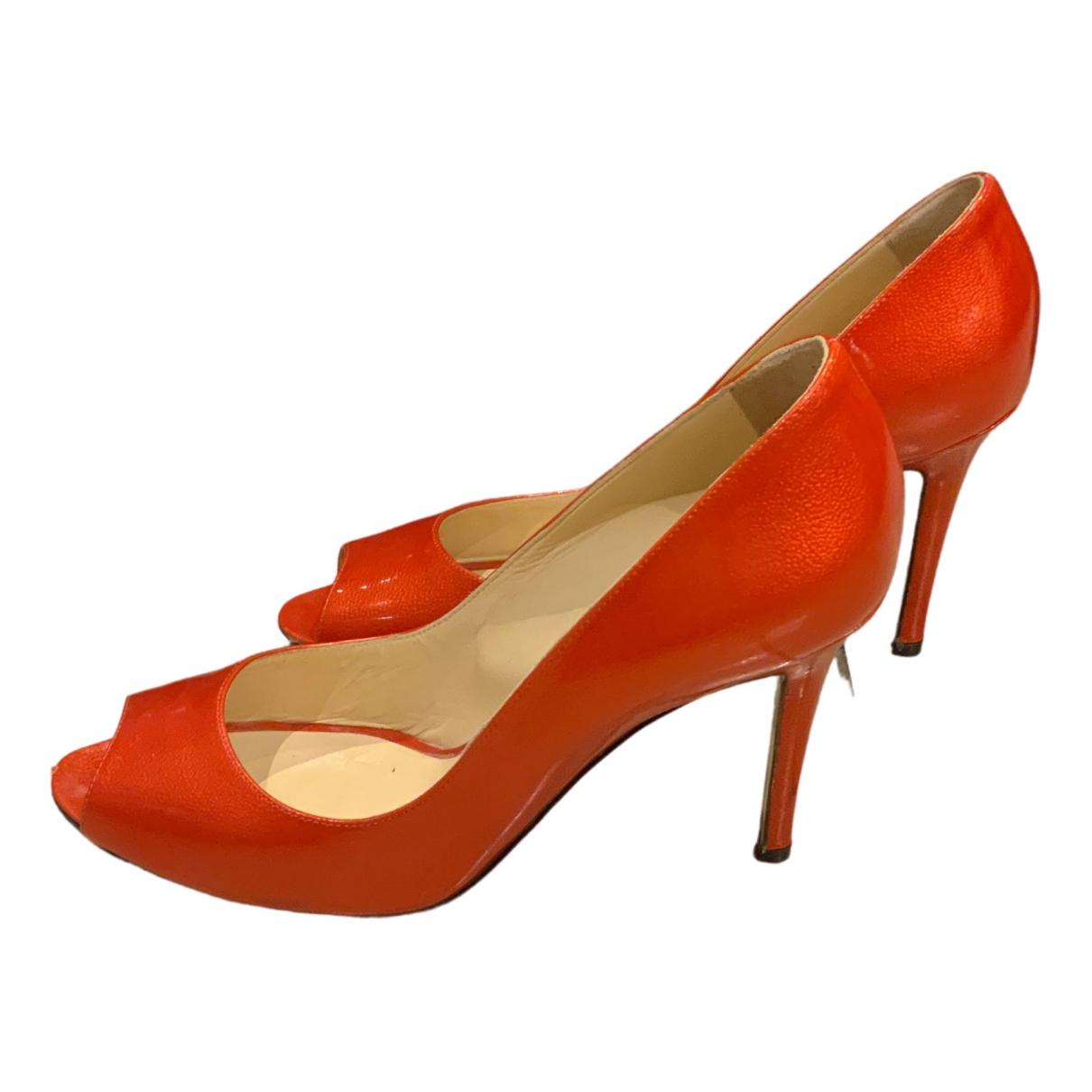 Sergio Rossi N Orange Patent leather Heels for Women 40 EU