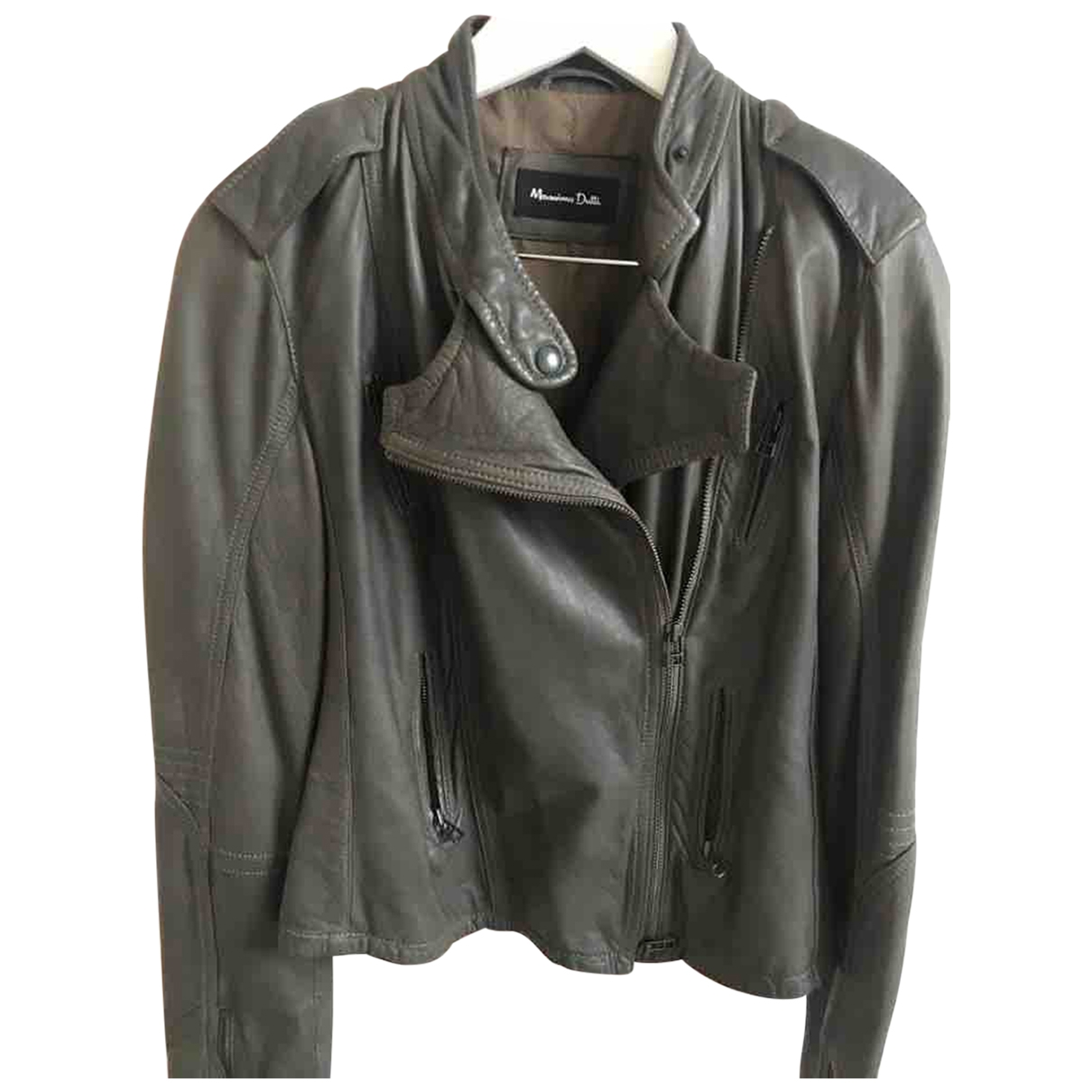 Massimo Dutti \N Grey Leather Leather jacket for Women 38 FR