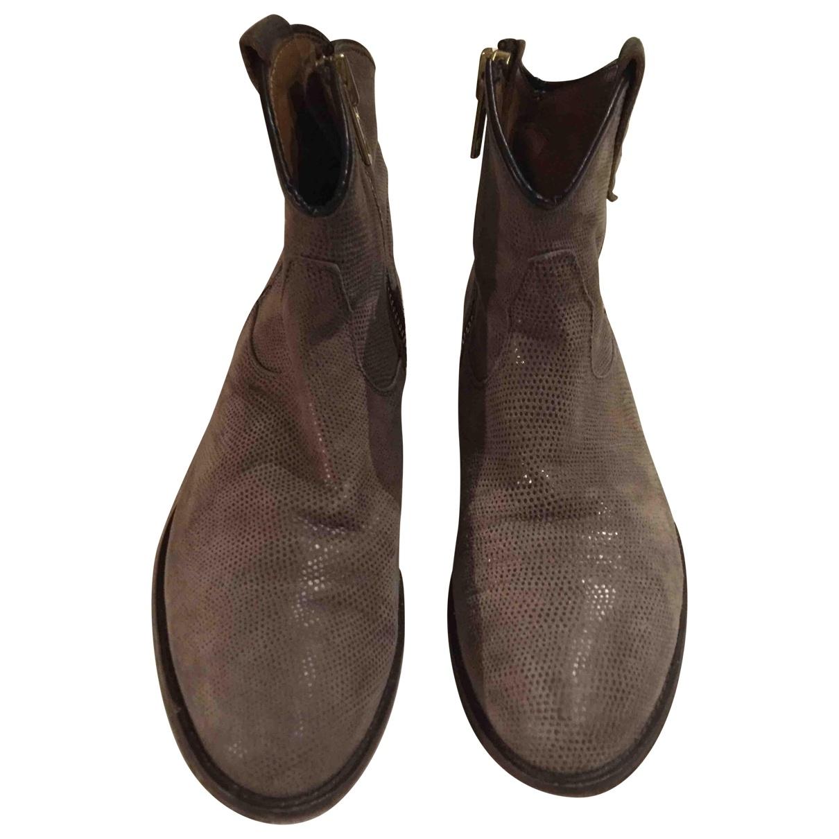 Iittala - Boots   pour femme en cuir - gris