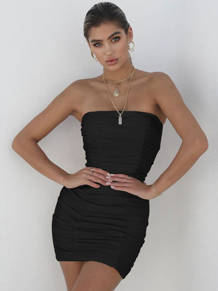 Milanoo Sexy Bodycon Dress Strapless Party Dress Ruched Shaping Mini Dress