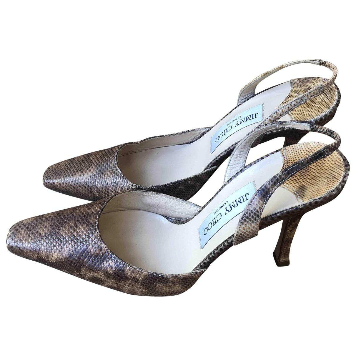 Jimmy Choo \N Brown Python Heels for Women 37.5 EU