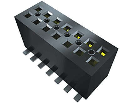 Samtec , FLE 1.27mm Pitch 12 Way 2 Row Right Angle PCB Socket, Surface Mount, Solder Termination (75)