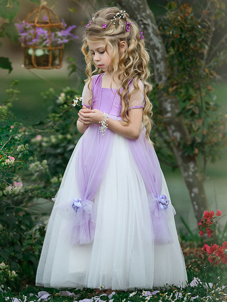 Milanoo Flower Girl Dresses Square Neck Taffeta Short Sleeves Ankle Length Princess Silhouette Flowers Kids Social Party Dresses