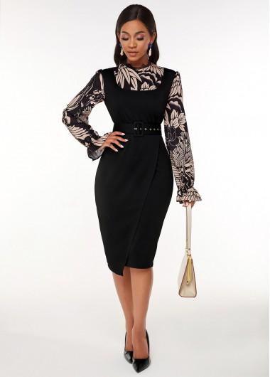 Black Dresses Printed Buckle Belted Long Sleeve Dress - 3XL