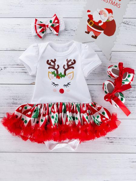 Milanoo Baby Christmas Set Print Tutu Skirt Cotton Christmas Pattern Holidays Costumes