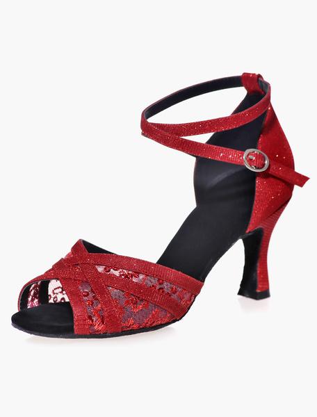 Milanoo Open Toe malla negra brillo zapatos de salon de baile