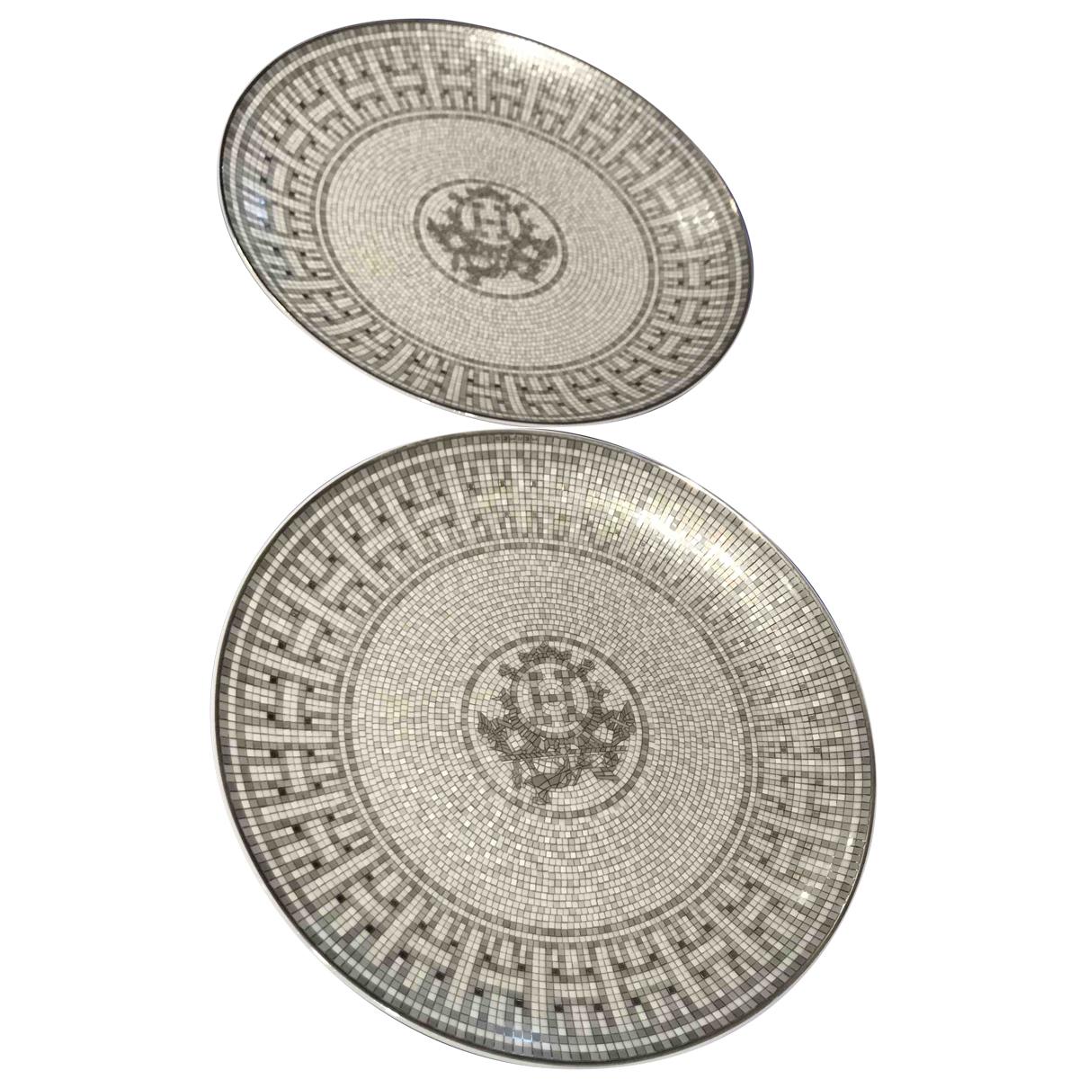 Hermes - Arts de la table Mosaique au 24 pour lifestyle en porcelaine - gris