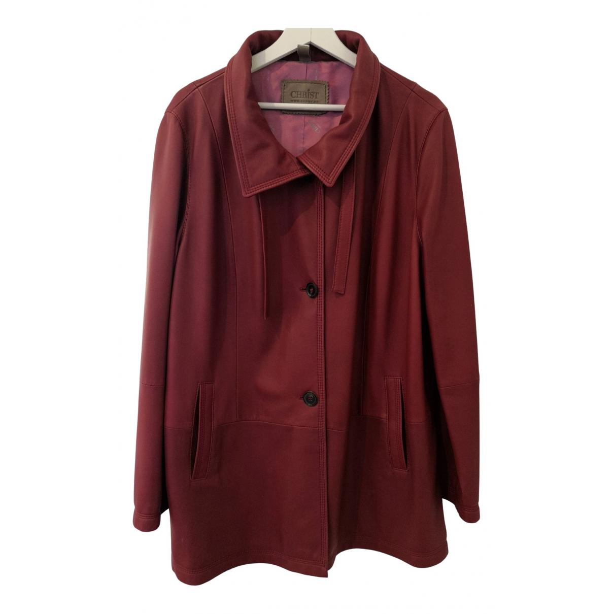 - Manteau   pour femme en cuir - rouge