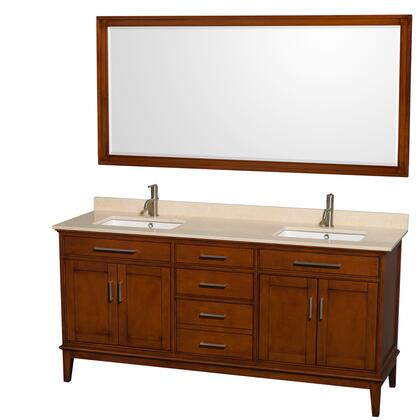 WCV161672DCLIVUNSM70 72 in. Double Bathroom Vanity in Light Chestnut  Ivory Marble Countertop  Undermount Square Sinks  and 70 in.