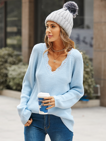 YOINS V-neck lace trim Long sleeves Sweater
