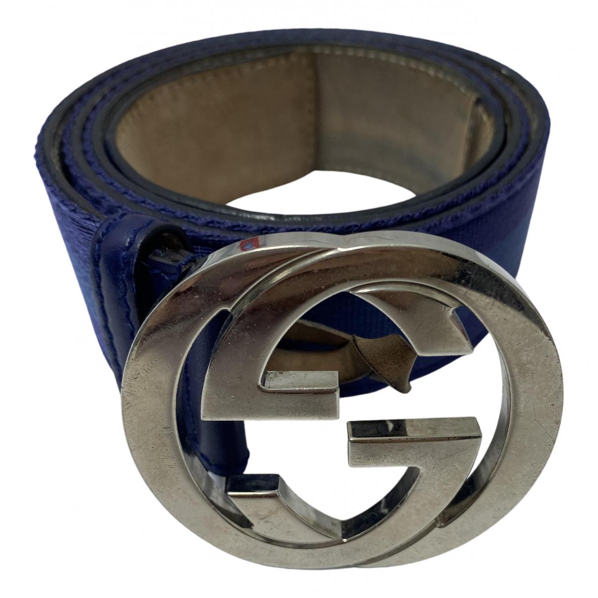 Gucci - Ceinture Interlocking Buckle pour femme en cuir - bleu