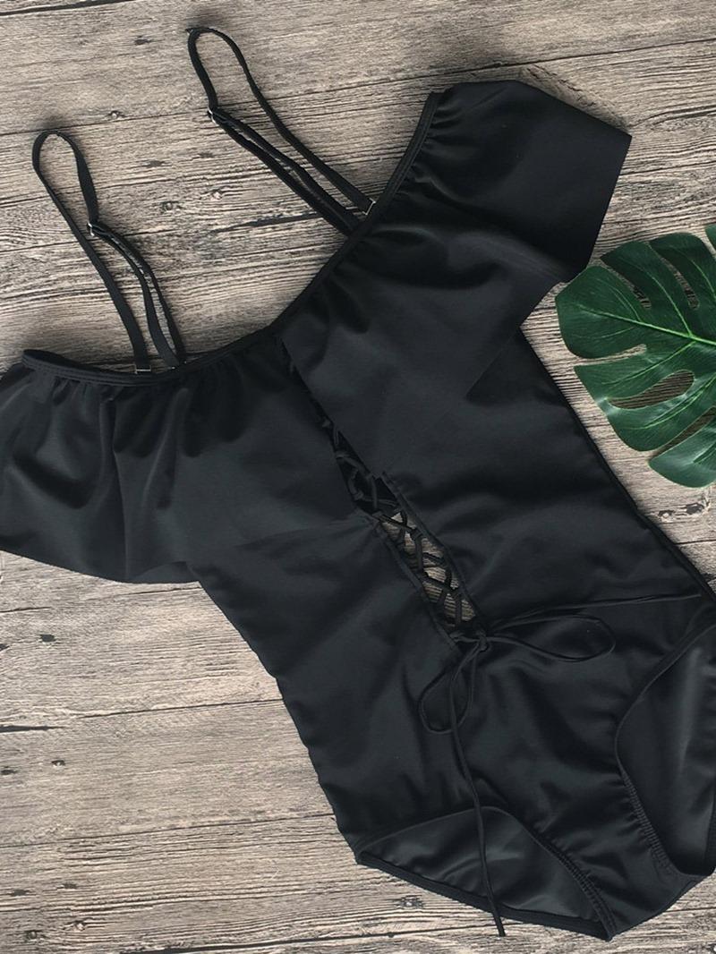 Ericdress Off-Shoulder Lace-Up Plain Swimwear