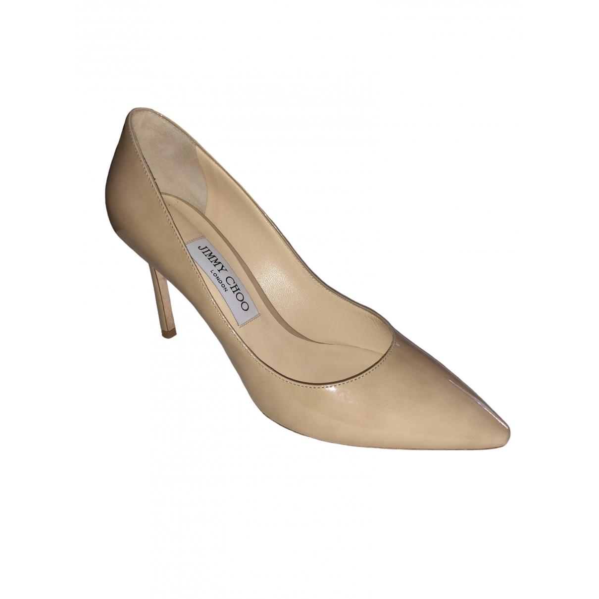 Jimmy Choo Romy Beige Patent leather Heels for Women 38 EU