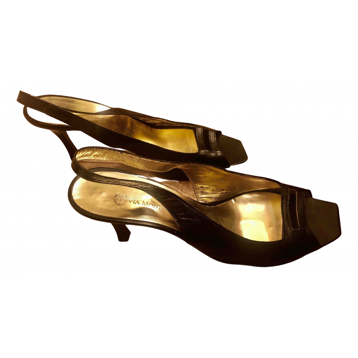 Non Signé / Unsigned \N Black Leather Sandals for Women 38 EU