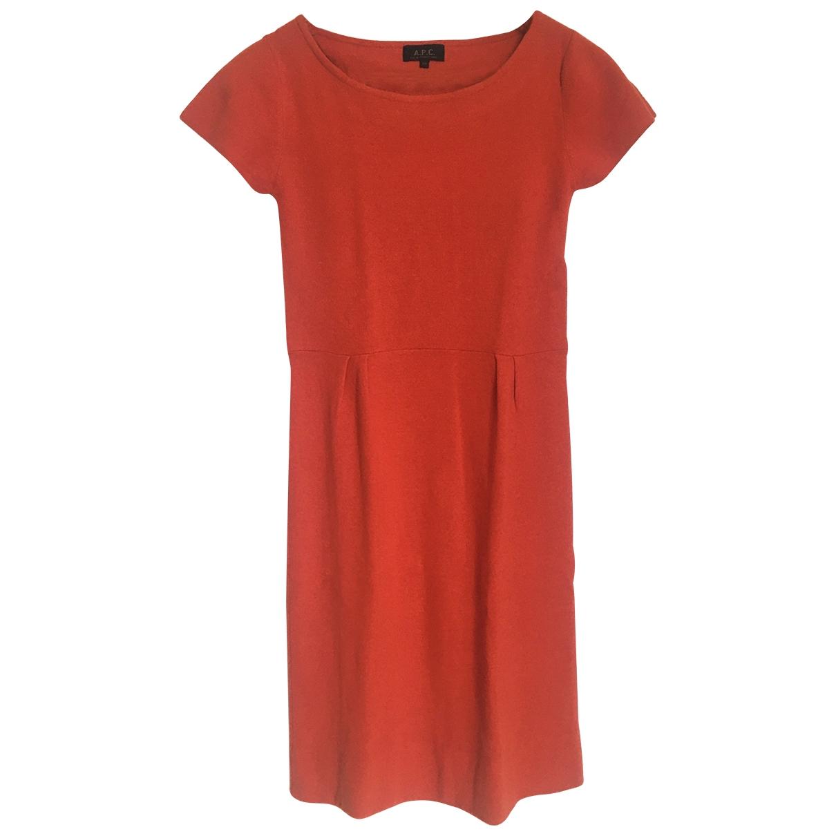 Apc - Robe   pour femme en laine - orange