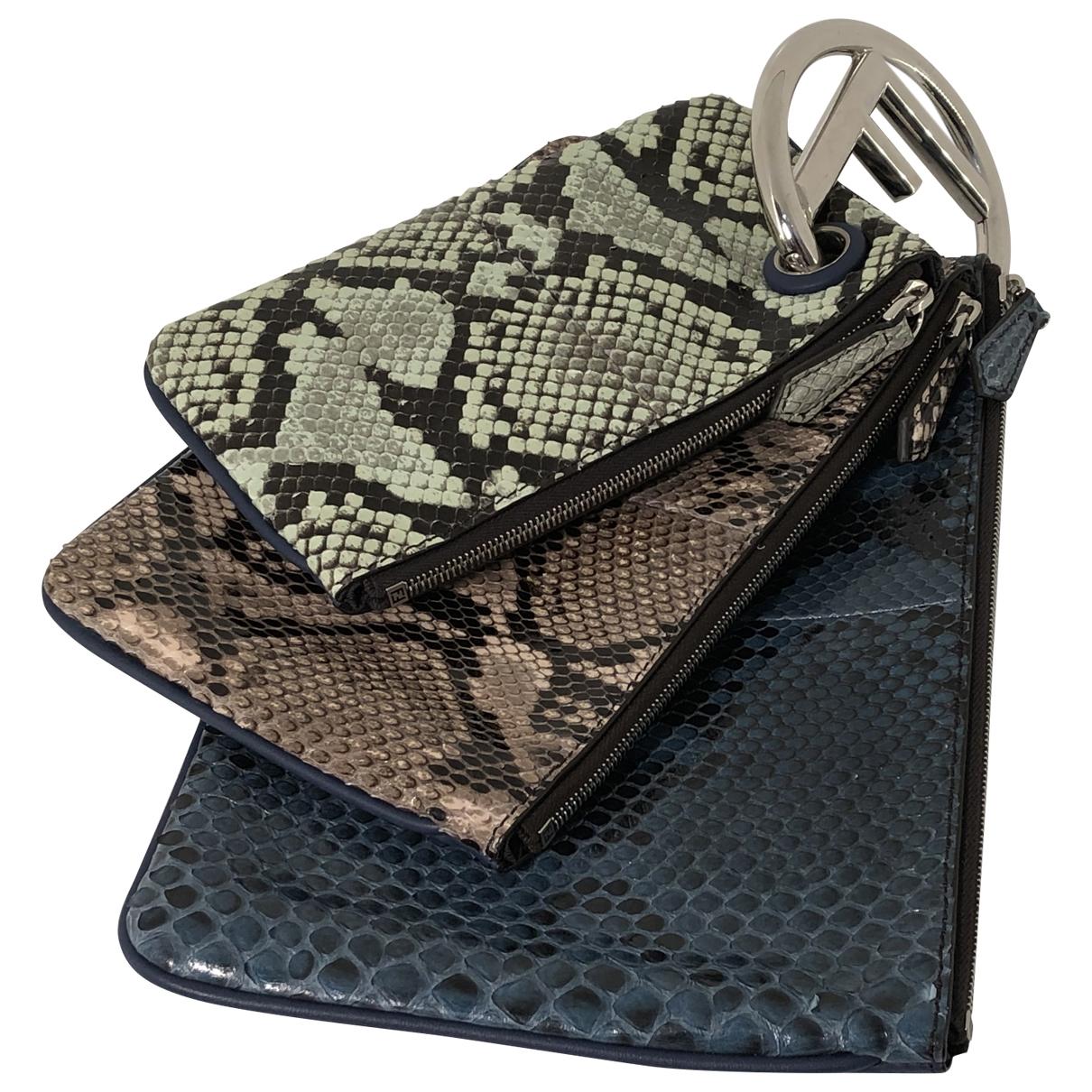 Fendi Triplette Blue Python Clutch bag for Women \N