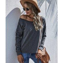 Sweatshirt mit Bootkragen und sehr tief angesetzter Schulterpartie