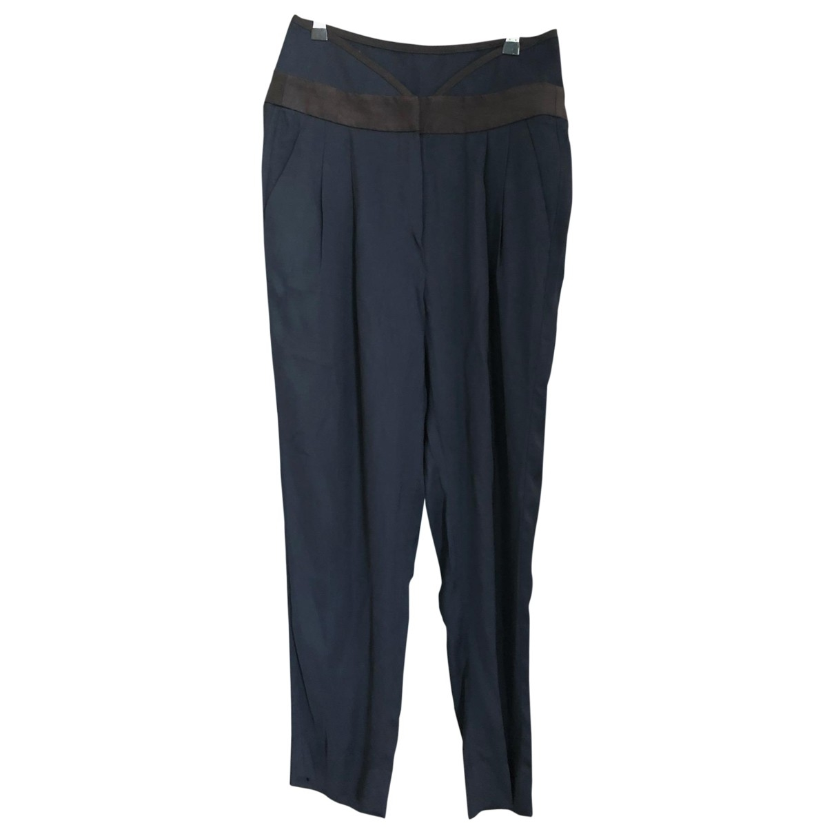 Emporio Armani \N Navy Silk Trousers for Women 40 IT