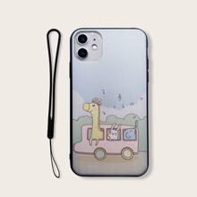 iPhone Schutzhuelle mit Tier Karikatur Grafik & Tragegurt