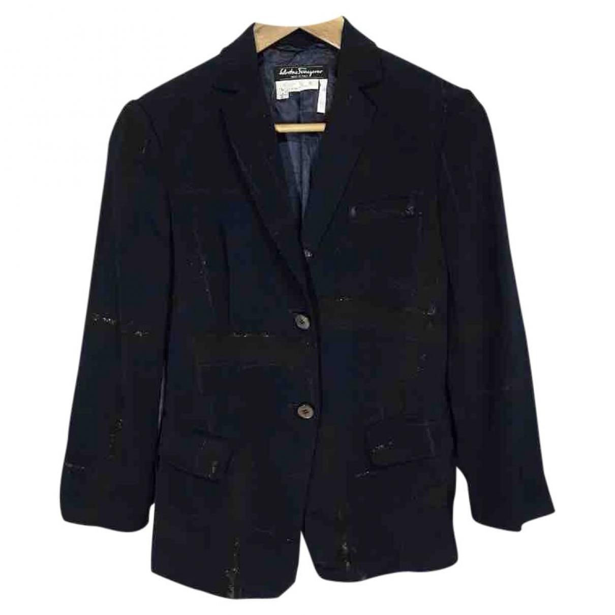 Salvatore Ferragamo \N Blue Wool jacket for Women 8 US