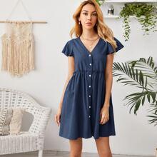 Kleid mit V Kragen, Schmetterlingaermeln und Ruesche Detail