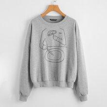 Pullover mit sehr tief angesetzter Schulterpartie und Buchstaben & Grafik Muster