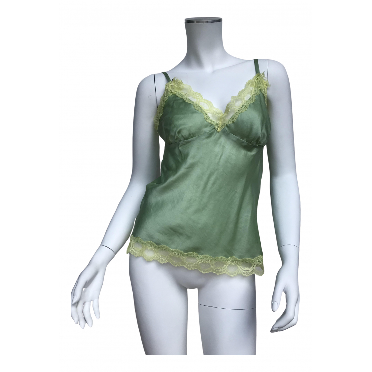 Red Valentino Garavani \N Green Silk  top for Women 42 IT
