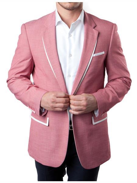 Mens 1 Button Rose Pink Summer Blazer With White Trim Accents