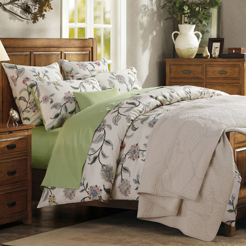 Vibrant Plants Printing 4-Piece Polyester Bedding Sets All-Season Ultra-soft 2 Pillowcases 1 Duvet Cover And 1 Fitted Sheet