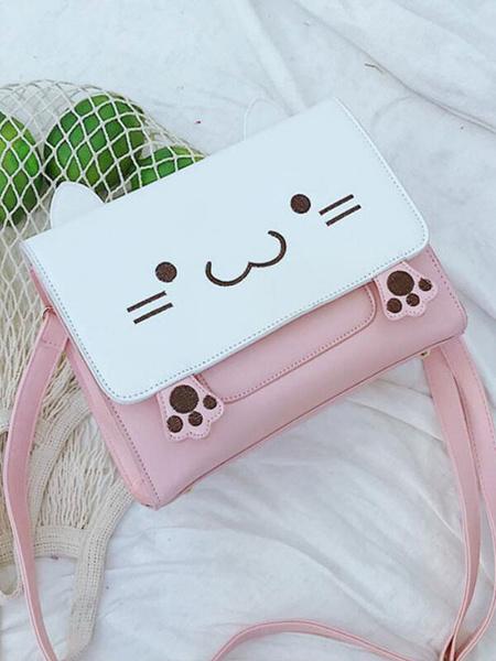 Milanoo Sweet Lolita Bag Pink Shoulder Bag PU Leather Lolita Accessories