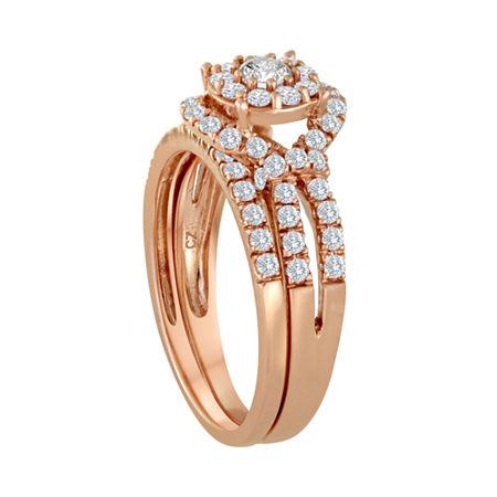 1 CT. T.W. Diamond 10K Rose Gold Bridal Ring Set, 5 , Pink