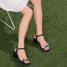 Flower Decor Ankle Strap Chunky Heeled Sandals