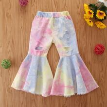 Toddler Girls Tie Dye Ripped Flare Jeans
