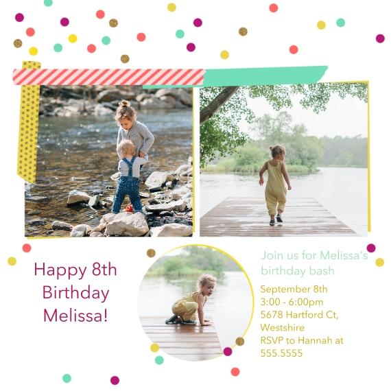 Kids Birthday Party Invites 5x5 Flat Card Set, 85lb, Card & Stationery -Birthday Bash, Girl